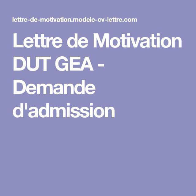 Lettre de Motivation DUT GEA - Demande d'admission