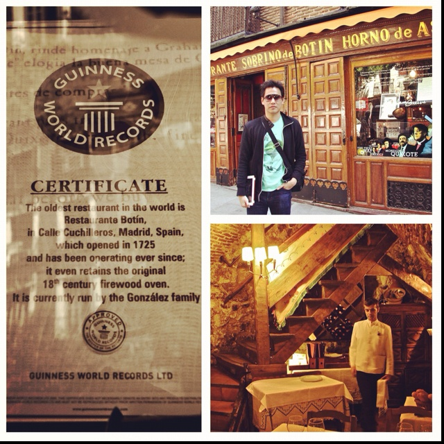 Botin Restaurant, Madrid. Oldest restaurant in the world opened in 1725 till now! Wow! Verified by Guiness World Records