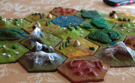5 Hex Tile Custom 3D Settlers of Catan Set // A Taste of the Land of Catan // Collect Them All for a Durable Polymer Clay Game Board