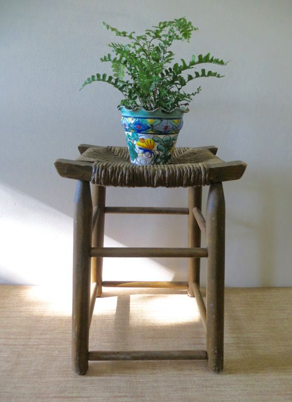 Vintage Rustic Stool - Plant Stand - Wood with Rope Seat ...