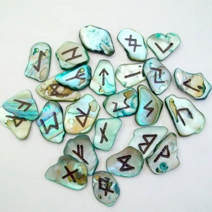 Abalone shell runes runeset  www.honeycatjewelry.etsy.com