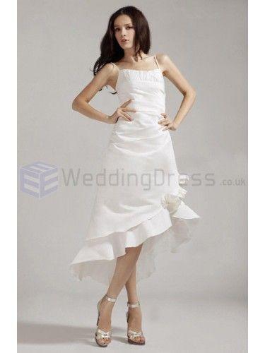 A-line Spaghetti Straps Asymmetrical Satin Wedding Dress with Ruffles
