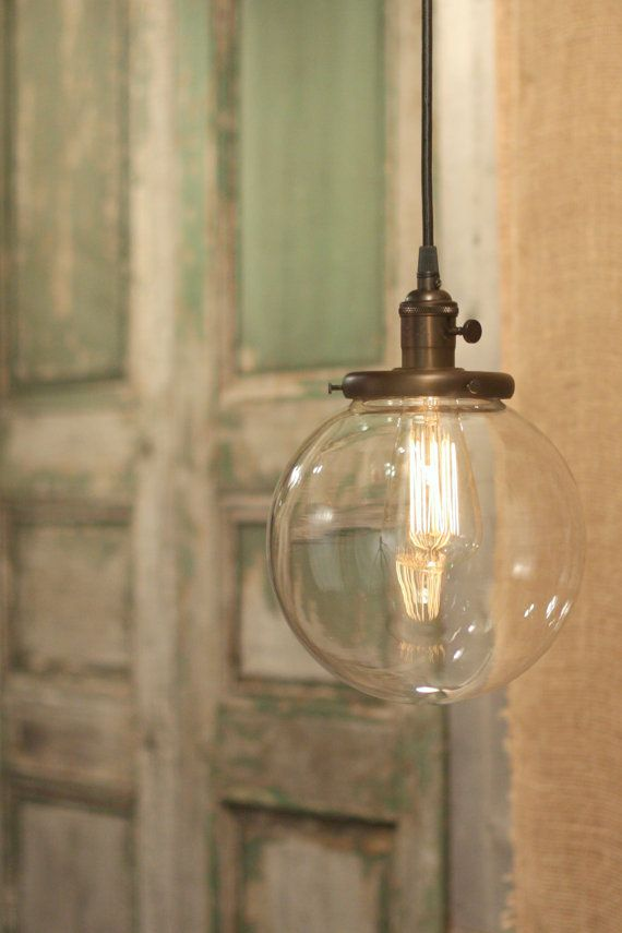 """Hanging Pendant Light Fixture with 8"""" Glass Globe Shade and Exposed Socket on Etsy, $168.00"""
