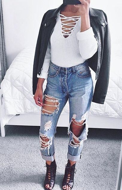 Ripped Blue Jeans White Lace Up Long Sleeve Shirt Black