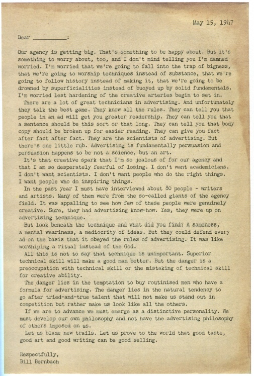 Bill Bernbach's resignation letter; This should be compulsory reading for every marketeer