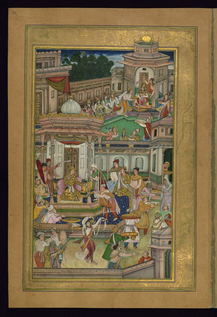 Shīrīn receives a ring from Khusraw - Text: Shīrīn va Khusraw Label: Both Shīrīn and Khusraw celebrate their upcoming nuptials in their respective pavilions. Below the image and written in red is ʿamal-i (the work of) Farrukh (Chela). - W624