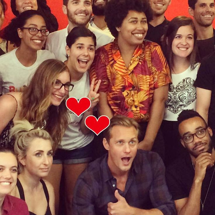 Alexander Skarsgard at the Buzzfeed office with adoring fans. Today August 5th 2015