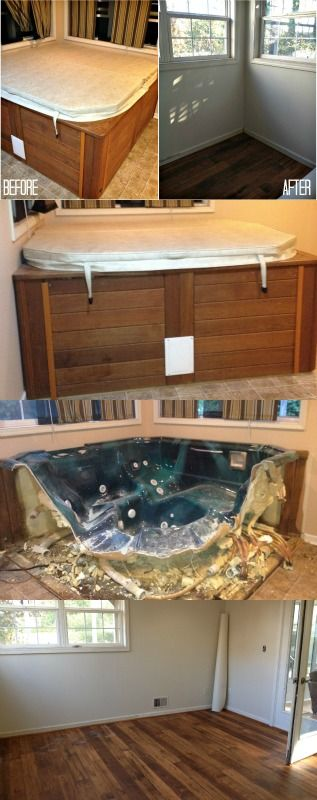 This blogger tore out an indoor jacuzzi and made it into a dining room.  Crazy transformation!