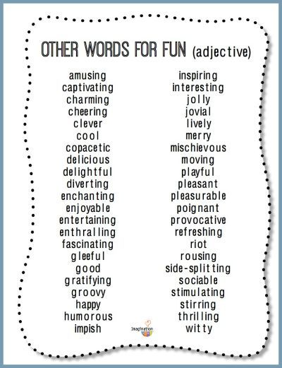 free printable adjectives for the word FUN