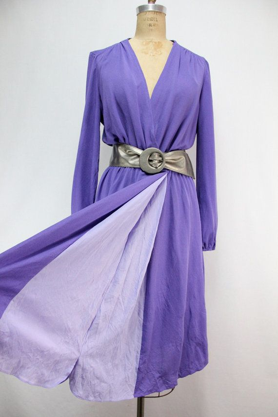 XL Purple Vintage Dress Cross Over Bust Skirt by SIZEisJUSTaNUMBER, $64.00
