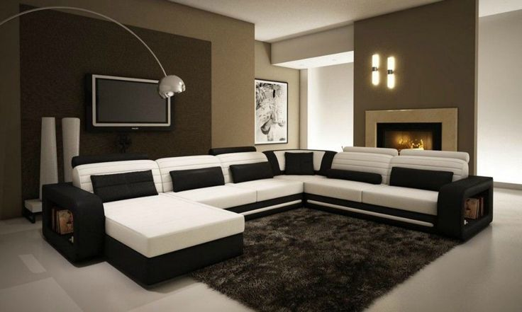 1005C Contemporary Black and White Leather Sectional Sofa | eBay