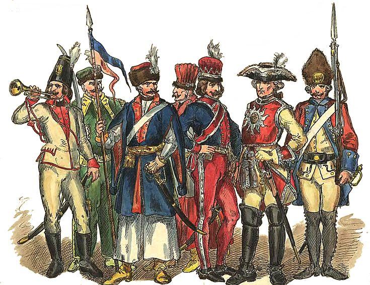 Wojsko polskie 1697- 1795 (pierwszy z prawej typowy żołnierz z lat 30. XVIII wieku)