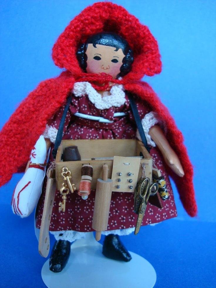 "Fab 6"" Hitty Peddler Doll Painted Oil Cloth Artist Mary Vlasak aka Airlie Fairy | eBay"