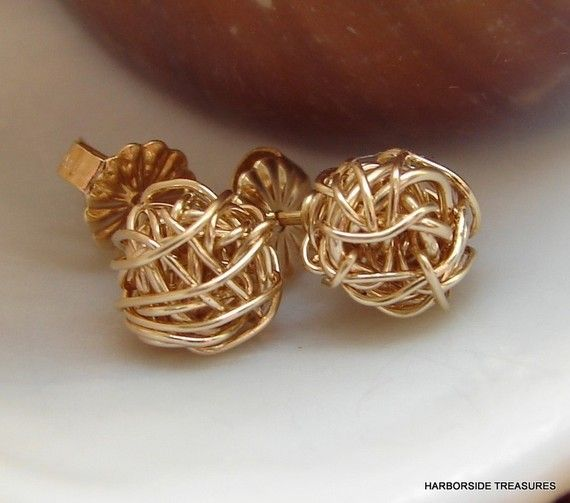 Gold knot studs, gold love knots, gold yarn ball, Knitters Earrings, Minimalist Jewelry, Gift For Her