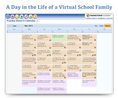 """4 Sample Daily Schedules for Virtual School Families"" on Virtual Learning Connections http://www.connectionsacademy.com/blog/posts/2013-04-03/4-Sample-Daily-Schedules-for-Virtual-School-Families.aspx"