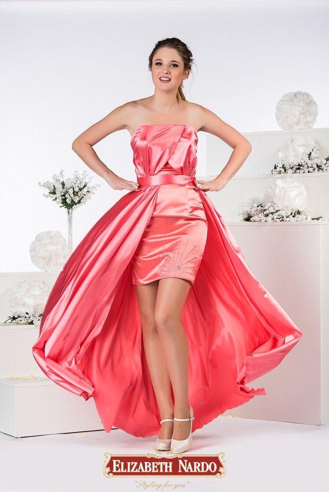 a66cd96243 19-342 Toppos , derékban vágott szűk hímzett korall színű szoknya, színben  harmonizáló szatén levehető szoknyával | Alkalmi- báli ruha | Strapless  dress ...