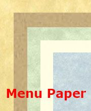 "Select your restaurant menu paper from variety of sizes, thickness, and colors. We carry 8-1/2"" x 11"", 8-1/2"" x 14"" (legal size), and 11"" x 17"""