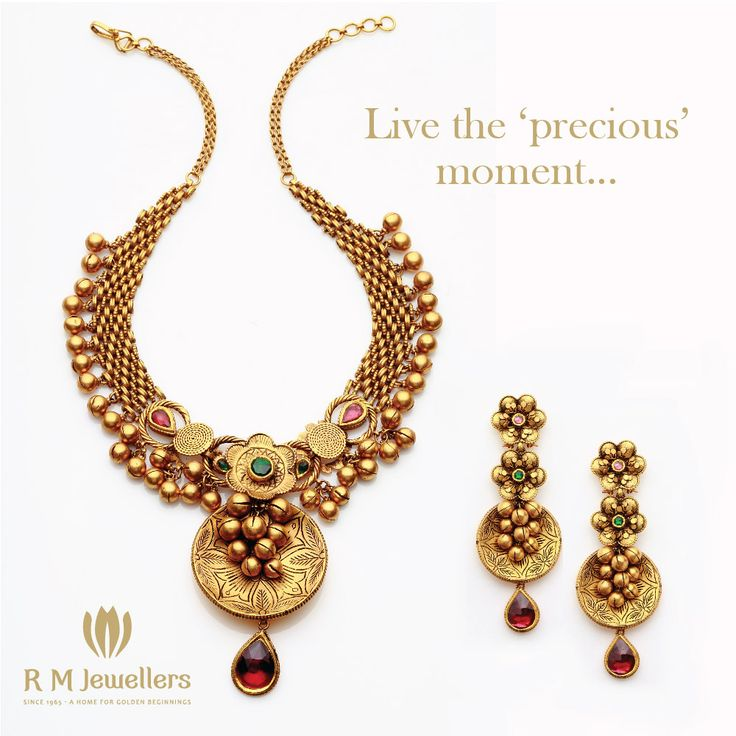A traditional ensemble with rubies and emeralds...