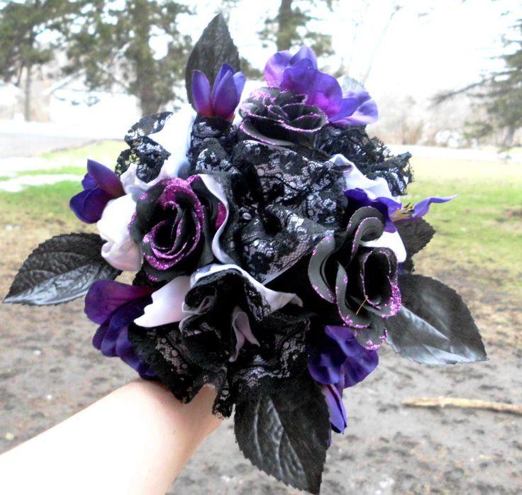 Purple Wedding Bouquet, Bridal, Gothic inspired, Cotton, Satin, Lace, Black,  White, Purple, Roses, Fabric Flower Bouquet, weddings. $55.00, via Etsy.