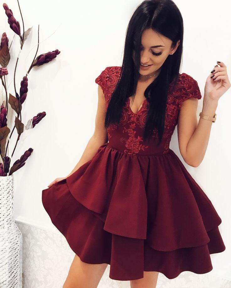 Bordowa sukienka Dahlia