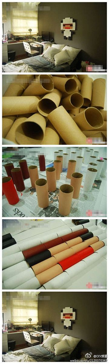 toilet paper tubes to wall art