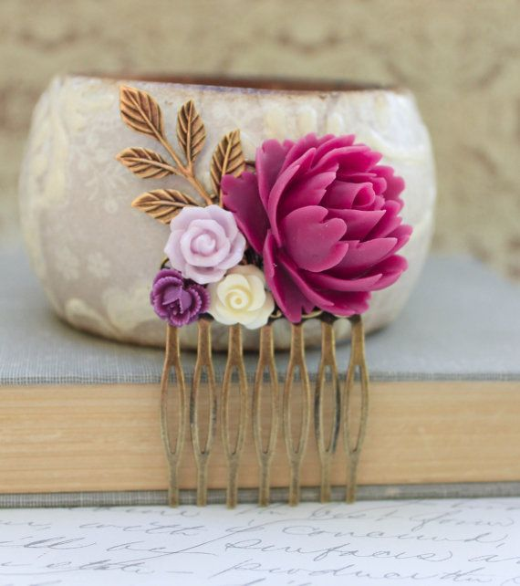 Flower Collage Comb Floral Hair Accessories by apocketofposies