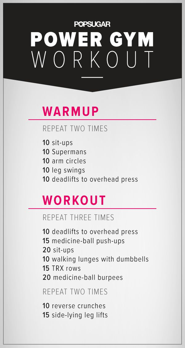 Work out and blast calories at the gym with this awesome circuit workout! Just be sure to set aside 45 minutes.