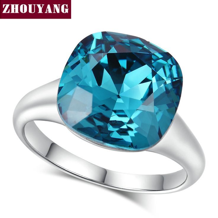 Top Quality ZYR083 Magic Blue Crystal Ring  White Gold Plated  Austrian Crystals Full Sizes Wholesale