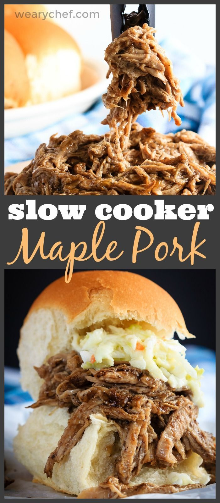 This tender maple pork tenderloin takes just minutes to get into the slow cooker and is amazing piled onto a soft roll for an easy dinner!