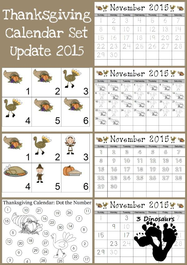 FREE November 2015 Thanksgiving Calendar Set