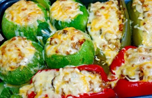 Home food: Фаршированные круглые кабачки и перцы с мясом и грибами / Stuffed round courgettes and peppers with meat and mushrooms