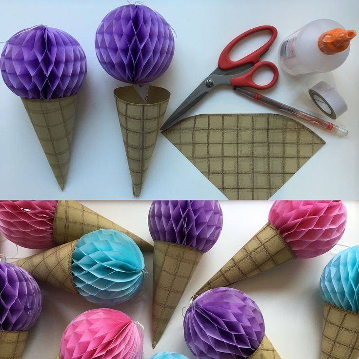 DIY ice cream decorations using small honeycomb balls from discount store and some brown coloured card plus crayons. Made by D'lish Cupcakes and Accessories