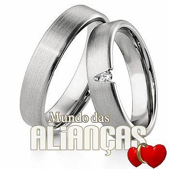 Aliança de noivado e casamento  Aliança em ouro branco 18k 750  http://www.mundodasaliancas.com.br/