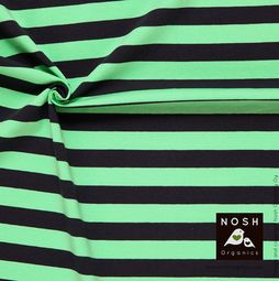 Organic cotton Jersey 2+2cm Stripes Graphite/ Mint Green