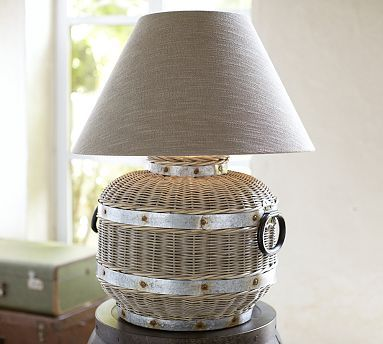 """Wicker Oversized Table Lamp     Pottery Barn     299.00     23""""dia x 30""""h     shade sold separately"""