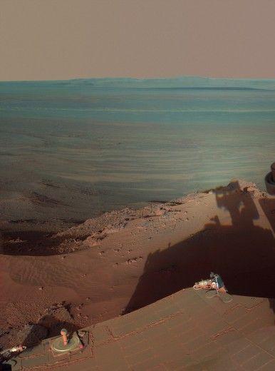 Cartoline da Marte: il canyon blu fotografato da Opportunity