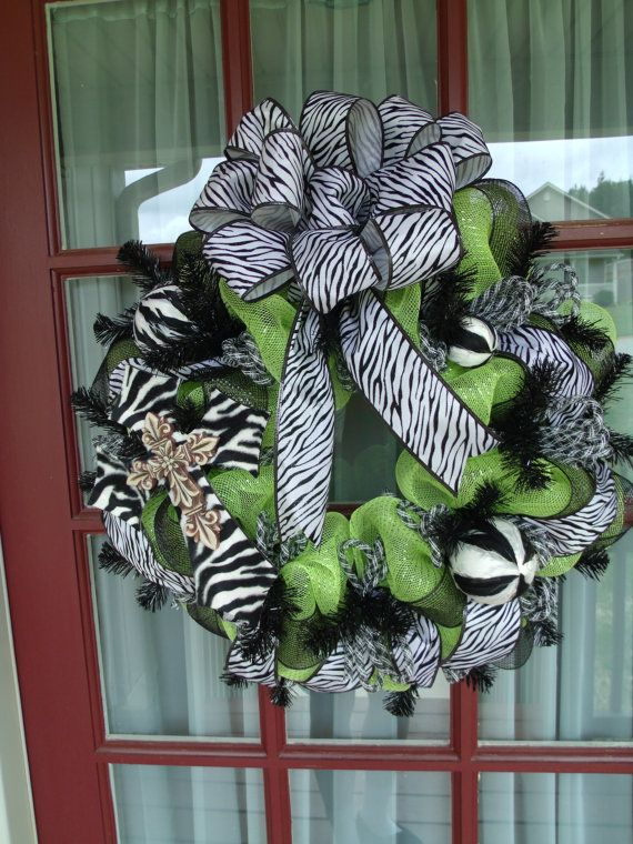 Zebra Print Lime Green And Black Deco Mesh Door by CrazyboutDeco, $89.00