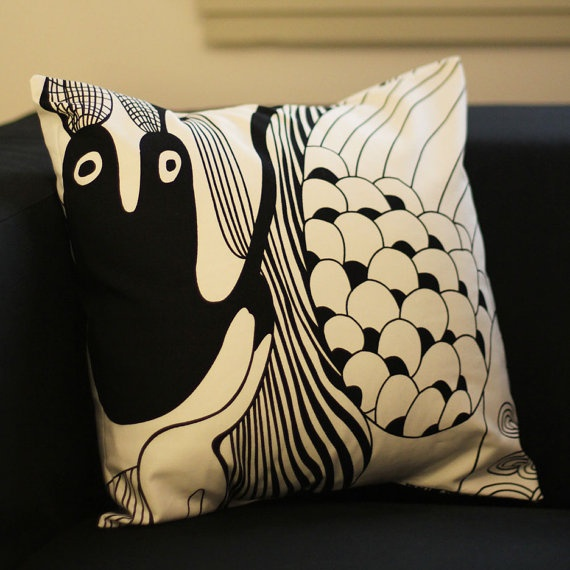 Black and White Cushion Cover by raenne on Etsy, $15.00