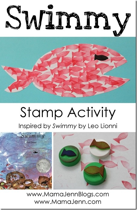 Swimmy by Leo Lionni Fish Stamp Activity, book day craft