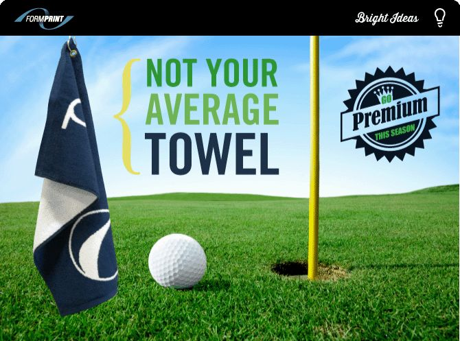 """Custom Woven Golf Towels - Big Impact for Your Brand  Go premium this season with a 16""""x26"""" super soft custom terry golf towel. Many branded golf towels have a small logo embroidered onto the cloth but not Jaquard golf towels! Jaquard Premium Golf Towels are made from scratch with your logo woven right into the towel itself."""