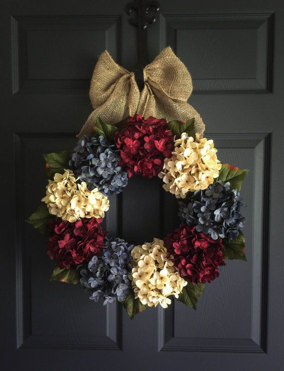 Patriotic Wreath  Americana Decor  with Exclusive Denim Blue Hyrangeas ~ handmade by HomeHearthGarden