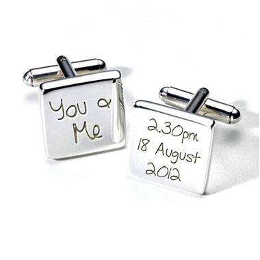 "Our ""You & Me"" personalised wedding cufflinks engraved with the time and date or your wedding day"