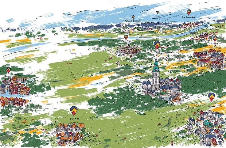 Illustration de l'article 'Extra extra muros' dans la revue 21h01 (numéro Hors-série : Mons en quête de renaissance), dessin de Sophie Racine