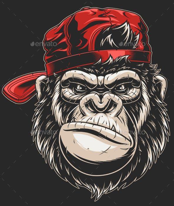 Monkey S Head In A Baseball Cap Gorillas Art Gorilla Tattoo Monkey Art