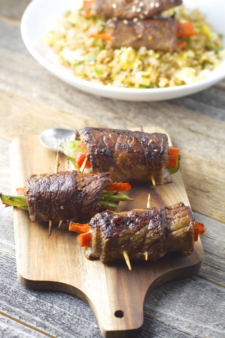 Asian Steak Rolls, these super simple steak rolls are packed with veggies and marinaded in a toasted sesame sauce! Perfect for busy weeknights!