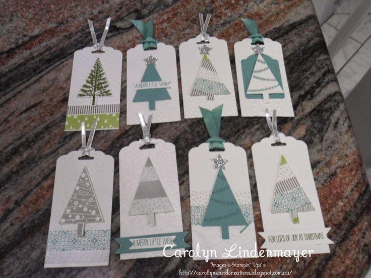 Schöne Varianten mit dem Stempel Christbaumfestival #Stampinup #Anhänger #Weihnachten
