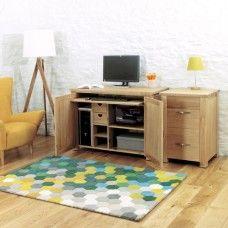 Aston Oak Furniture Hidden Home Office Computer Desk