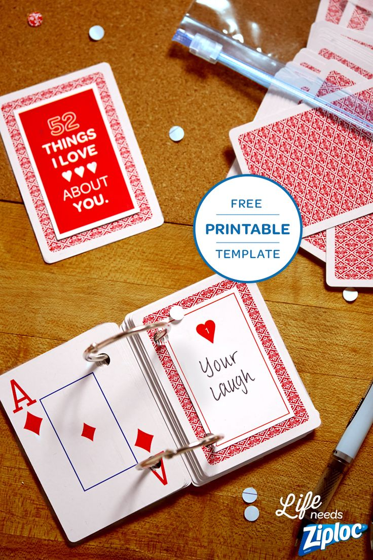"Turn an old deck of cards into a thoughtful Valentine's Day or anniversary gift with this free template from Ziploc®. Just add ""52 Things"" you love to the printable design. Such a simple and affordable DIY."