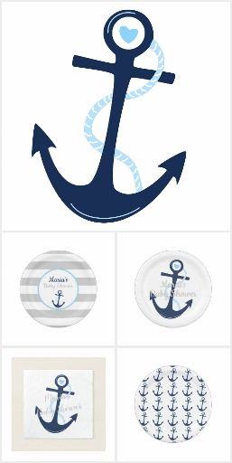 Ahoy it's a Boy Baby Shower Collection, Invitation, book card, diaper raffle card, plates, napkins, thank you card and more! Customize your own. #diy, #babyshower #ahoy #ahoyitsaboy #anchor #nautical #navy #blue #gray #stripes #invitations #zazzle #printondemand #fun #modern #babyboy #makeyourown #printyourown #designyourcard #edit