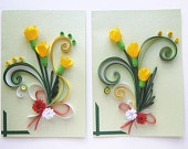 Spring flowers quilled postcard with martenitza ornaments